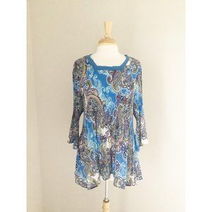 Maggie Barnes Blue Paisley Pleated Stretch Top 1XL